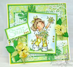 Spring Card uses stamp from Magnolia-licious, colored with TouchTwin markers by Suzanne J Dean of Scrap Bitz  #cards #crafts #magnolia