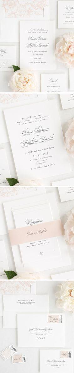 romantic cream opal champagne ivory wedding invitation suite
