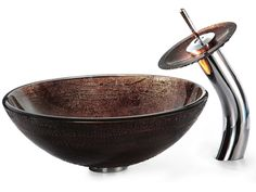 Copper Illusion Glass Vessel Sink and Waterfall Faucet Chrome