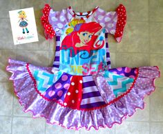 Little Mermaid Pieced Twirl Upcycle Dress by Little 4 Awhile www.facebook.com/groups/little4awhile