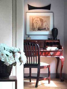 New York Interior Designer Jim Fairfax's residence - NYC - Greenwich Village.....  www.fairfaxstudios.com    notes:  mahogany desk in the Chippendale style, 1810 desk chair, surreal drawing over desk by Edgar Louis Ewing, wall sculpture over drawing by NY contemporary artist Marcela Silva.
