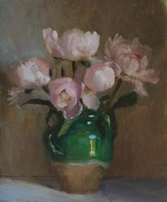 daily painting titled Peonies in a confit jar - click for enlargement
