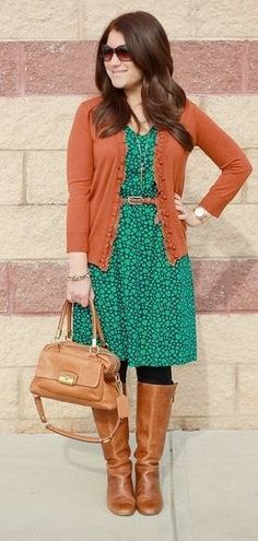 Belted Navy and Teal Heart Dress, Rust Cardigan, Brown Riding Boots, black opaque tights and tan leather handbag