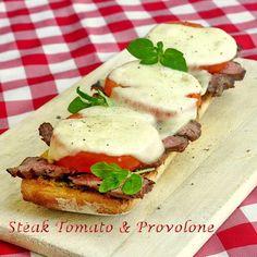 Open Face Steak Tomato and Provolone Sandwiches