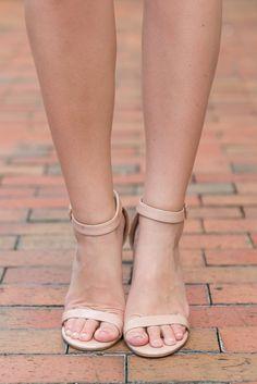 """""""Open Toe Heels - Ankle Strap, Nude"""""""
