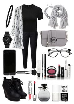 """Simple black and grey "" by londonfabx ❤ liked on Polyvore featuring moda, Current/Elliott, Forever New, Chicwish, Banana Republic, MICHAEL Michael Kors, Linea Pelle, GUESS, Bobbi Brown Cosmetics e American Eagle Outfitters"
