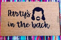 Party's in the Back Doormat, Funny Summer Doormat, Mullet Doormat, Funny Spring Doormat Summer Humor, Funny Doormats, Heavy Rubber, Mullets, Make And Sell, More Fun, I Shop, Happy, Etsy