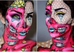 Le maquillage de Zombie Pop art Double visage : Idées et tutos makeup