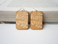 Laser Cut Wooden Earrings - Engraved Nature Ornament On Both sides - Rectange Earrings