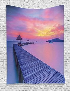 Amazon.com: Ambesonne Wooden Bridge Decor Collection, Wooden Jetty Ocean at Sunset Romantic Seascape View, Bedroom Living Kids Girls Boys Room Dorm Accessories Wall Hanging Tapestry, Coral Blue Dimgray: Home & Kitchen