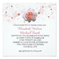 Romantic Pink Rose Swirls Wedding Invite