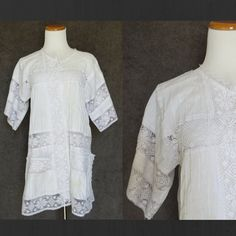 Mexican Blouse / Crochet Blouse / White Lace Blouse / Boho Tunic / White Lace Top / Mexican Top / Hippie Tunic / 70s Lace Top / 70s Tunic by GoodLuxeVintage on Etsy