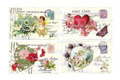 Wedding DIGITAL Download Printable Vintage Postcard  by Artwolf, $4.00