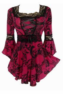 Renaissance Raspberry Swirl Corset Gothic Plus size top