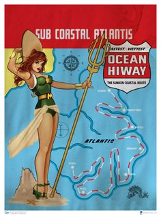 Mera: Here's an extremely cool set of 1940s-style pin-up art featuring several iconic heroines form the DC Comics universe. They were created by Ant Lucia, and I think they turned out beautifully.