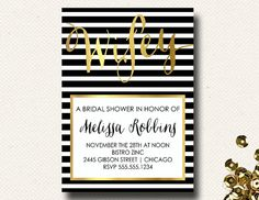 Hey, I found this really awesome Etsy listing at http://www.etsy.com/listing/172697335/black-white-gold-chic-bridal-shower
