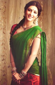 Top 41 Bollywood Actresses Who Look Beautiful In Saree South Indian Actress, Beautiful Indian Actress, Shruti Hassan, Indian Look, Indian Ethnic, Vogue, We Are The World, Half Saree, Indian Celebrities