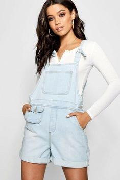 3f9a378fb8d Boohoo - Mia D- Ring Tie Shoulder Denim Dungaree Shorts Light Blue Uk 8