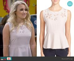 Gabi's peplum top with flower cutouts on Young and Hungry.  Outfit Details: https://wornontv.net/56312/ #YoungandHungry