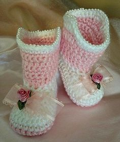 Crochet Baby Cowboy Booties Baby Girl by TippyToesBabyDesigns
