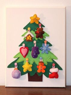 This could be a really cute DIY tree for the kiddos, I make it and they get to decorate and redecorate it as much as they want -- also helps develop fine motor skills, I'm sure! And solves the problem of them wanting to redecorate the real tree over and over again...