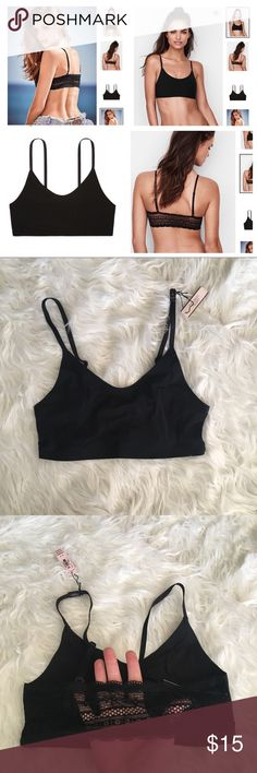 Victoria's Secret brand new mesh bralette Brand new in package just taken out for pics size small. Black all mesh sexy back bralette wear with jeans or shorts as a cute crop top or under a flannel for a country concert etc. Originally $20 plus tax PRICE FIRM Victoria's Secret Intimates & Sleepwear Bras