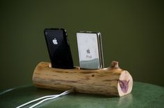 wood docking station...awesome if it was made from driftwood because then it would fit with my decor!