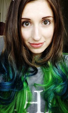 Green and teal ombre dip dyed hair