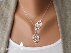 Leaf Lariat in silver - Silver Jewelry - Modern Dainty - Lovely - Gift For - Lariat Necklace - Silver Jewelry - The Lovely Raindrop