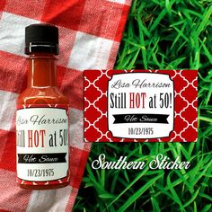 Over the Hill Party Ideas - Custom Hot Sauce Favors Personalized Labels & by SouthernSticker