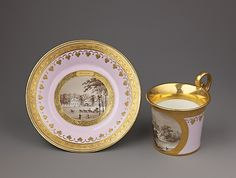 Cup and saucer with views of Pulawy, a Palladian country house  Austrian, Vienna  (20th century)  Date: ca. 1817