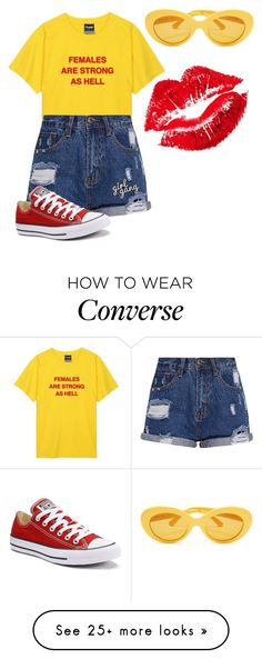 """Female power"" by sunsetlvrs on Polyvore featuring Manic Panic NYC and Converse"