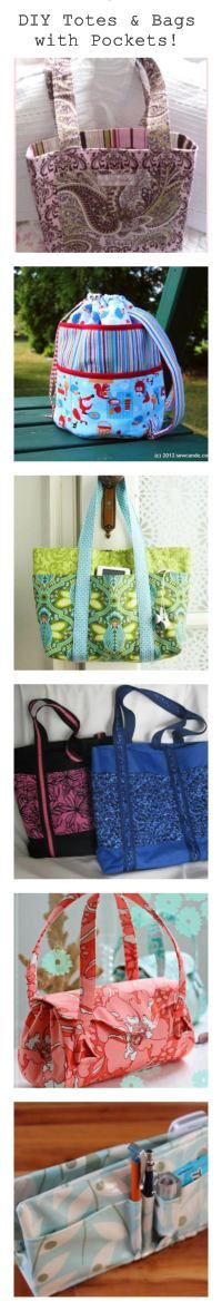 Must have pockets...  6 patterns for totes/bags with pockets.