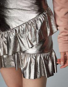 9d196ed315f Metallic mini skirt with frills - Frills - Skirts - Clothing - Woman -  PULL BEAR Ukraine