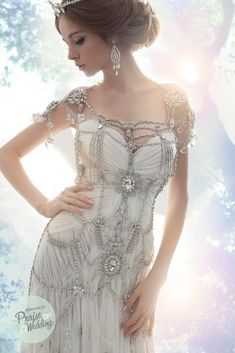 Incredible jeweled wedding dress - 12 Steampunk Wedding Dresses - the dress looks simple, yet the jewels and beading give it more piazza Moda Steampunk, Steampunk Fashion, Victorian Steampunk, Gothic Fashion, Crystal Wedding Dresses, Wedding Gowns, Crystal Dress, Bridal Gowns, Wedding Dresses With Bling