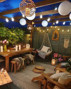 String Lights Outdoor Porch - New ideas Outdoor Spaces, Outdoor Living, Outdoor Decor, Backyard Patio Designs, Patio Ideas, Backyard Shade, Garden Ideas, Patio Shade, Backyard Lighting