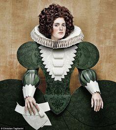 Cardboard lady: One of Christian Tagliavini's works which focuses on 17th Century fashion
