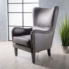 Lorenzo Contemporary Microfiber Wingback Club Chair with Nailhead Trim by Christopher Knight Home (Slate+Dark Brown)(Fabric) Living Furniture, Living Room Chairs, Dining Chairs, Furniture Deals, Furniture Stores, Dining Room, Chair And Ottoman, Wingback Chair, Swivel Chair