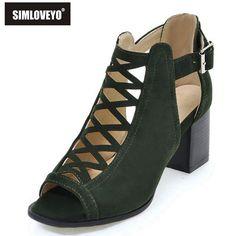 a697d64b5bf5 SIMLOVEYO Marque chaussures Femme d été Gladiateur Femmes sandales Sexy  Peep Toe Cheville strap talon