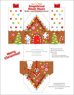 Paper Gingerbread house 1 Template free download