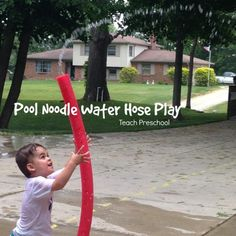 Pool Noodle Water Hose Play!!