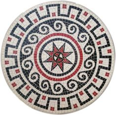 Mosaic table top in a roman style, made with ceramic tiles. Mosaic Designs, Mosaic Patterns, Outdoor Table Tops, Leg Painting, Bottle Cap Table, Mosaic Artwork, Roman Fashion, Aluminum Table, Handmade Table