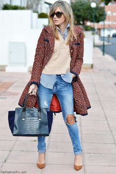 Red tweed coat, sweater and ripped jeans for chic winter style. #wintercoat