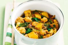 Pumpkin, cauliflower and lentil curry----A hearty curry filled with lots of healthy vegetables and just the right amount of spice. You could replace jalfrezi with another Indian simmer sauce such as butter chicken, balti or rogan josh. Preparation: 0:20, Cook: 0:30, Ingredients: 9, Difficulty: Easy, Serves: 4, Average Rating: 4/5 stars.