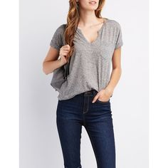 Charlotte Russe V-Neck Boyfriend Pocket Tee ($7.99) ❤ liked on Polyvore featuring tops, t-shirts, grey, pocket tees, grey pocket t shirts, grey t shirt, boyfriend tee and v neck tee