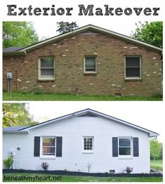 Boring brick house transformed with paint and shutters. Exterior makeover.