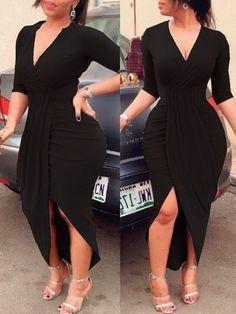 Long Sleeve Deep V Neck Split Ruched Wrap Bodycon Dress Cocktail Dress Outfit Vestido Negro, Mode Abaya, Trend Fashion, Womens Fashion, 50 Fashion, Plus Size Kleidung, Asymmetrical Dress, Elegant Woman, Pattern Fashion