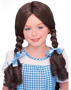 Complete your Child's costume with this Deluxe Dorothy Wig from The Wizard of Oz. Wig is made of 100% synthetic hair.