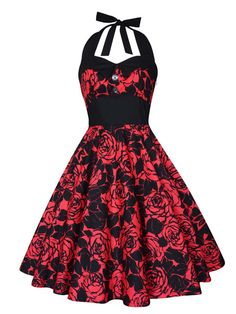 Rockabilly Christmas Dress Red Roses Vintage Pin Up Dress 50s Psychobilly Dress Gothic Dress Lolita Steampunk Swing Party Plus Size Clothing
