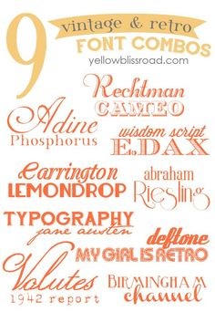 Vintage & Retro Inspired Free Font Combinations - Yellow Bliss Road